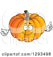 Clipart Of A Smart Pumpkin Character Holding Up A Finger Royalty Free Vector Illustration