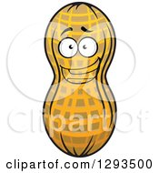 Clipart Of A Happy Excited Peanut Character Royalty Free Vector Illustration