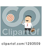 Clipart Of A Flat Design Of A White Businessman Throwing A Dart At His Goal Board On Blue Royalty Free Vector Illustration