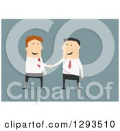 Clipart Of A Flat Design Of A White Businessman Boss Shaking Hands With A Partner Or Employee On Blue Royalty Free Vector Illustration