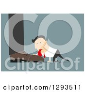 Clipart Of A Flat Design Of A White Businessman Licking The Shoe Of His Boss On Blue Royalty Free Vector Illustration