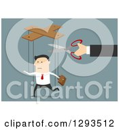 Clipart Of A Flat Design Of A White Businessman Being Cut From Marionette Strings Over Blue Royalty Free Vector Illustration
