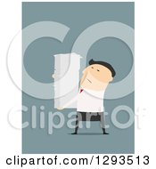 Clipart Of A Flat Design Of A White Businessman Carrying A Huge Stack Of Paperwork On Blue Royalty Free Vector Illustration