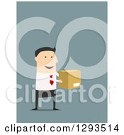 Clipart Of A Flat Design Of A White Businessman Holding Out A Box On Blue Royalty Free Vector Illustration
