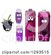 Clipart Of A Happy Blackberry Character Cups And Juice Cartons Royalty Free Vector Illustration