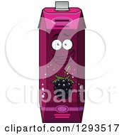 Clipart Of A Happy Blackberry Juice Carton Character 2 Royalty Free Vector Illustration