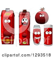 Clipart Of A Happy Pomegranate Character Cups And Juice Cartons Royalty Free Vector Illustration