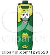 Clipart Of A Happy Green Apple Juice Carton Royalty Free Vector Illustration