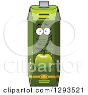 Clipart Of A Happy Green Apple Juice Carton 2 Royalty Free Vector Illustration