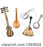 Clipart Of Cartoon Domra Kemenche Balalaika And Banjor Stringed Instruments Royalty Free Vector Illustration