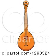Clipart Of A Cartoon Domra Stringed Instrument Royalty Free Vector Illustration