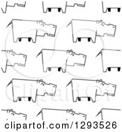 Clipart Of A Seamless Pattern Background Of Sketched Hippos In Black And White Royalty Free Vector Illustration by Vector Tradition SM