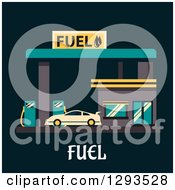 Flat Modern Design Of A Car Getting Fuel At A Gas Station With Text On Black