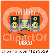 Clipart Of A Flat Design Of A Karaoke Machine Over Disco Text On Orange Royalty Free Vector Illustration