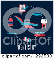 Clipart Of A Flat Design Of A Dentist Chair And Items Over Text On Dark Blue Royalty Free Vector Illustration