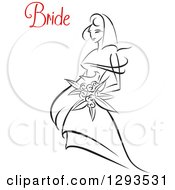 Clipart Of A Sketched Black And White Bride Holding A Bouquet Of Flowers With Red Text Royalty Free Vector Illustration