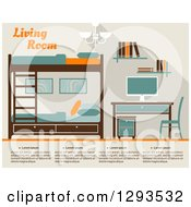 Clipart Of A Tan Teal Brown And Orange Bedroom With Bunk Beds And A Desk Royalty Free Vector Illustration