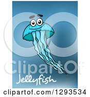 Happy Blue Jellyfish Over Text And Blur