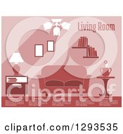 Clipart Of A Pink Toned Living Room With Sample Text Royalty Free Vector Illustration by Vector Tradition SM