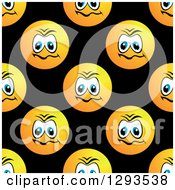 Seamless Pattern Background Of Upset Or Mad Smiley Faces On Black