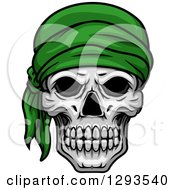 Clipart Of A Human Skull With A Green Bandana Royalty Free Vector Illustration
