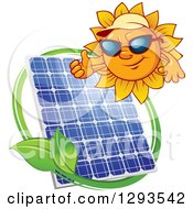 Clipart Of A Sun Character Wearing Shades And A Visor And Giving A Thumb Up Over A Solar Panel Encircled With A Swoosh And Green Leaf Royalty Free Vector Illustration