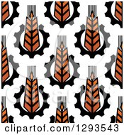 Clipart Of A Seamless Background Pattern Of Gradient Wheat And Gears Royalty Free Vector Illustration