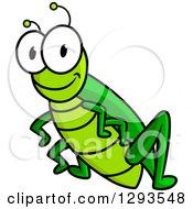 Clipart Of A Cartoon Green Happy Grasshopper Royalty Free Vector Illustration