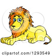 Clipart Of A Cartoon Happy Resting Male Lion Royalty Free Vector Illustration
