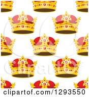 Clipart Of A Seamless Patterned Background Of Ornate Gold Crowns On White 3 Royalty Free Vector Illustration
