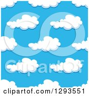Clipart Of A Seamless Pattern Background Of Puffy Clouds In A Blue Sky 3 Royalty Free Vector Illustration by Vector Tradition SM