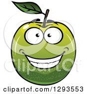 Clipart Of A Happy Green Apple Grinning Royalty Free Vector Illustration
