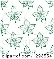 Clipart Of A Seamless Pattern Background Of Green Leaves Royalty Free Vector Illustration