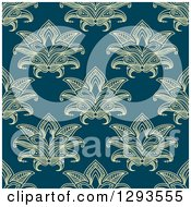 Clipart Of A Seamless Pattern Background Of Yellow Lotus Henna Flowers On Navy Blue Royalty Free Vector Illustration