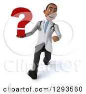Clipart Of A 3d Young Black Male Diagnostic Doctor Walking And Holding A Question Mark Royalty Free Illustration