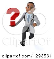 Clipart Of A 3d Young Black Male Diagnostic Doctor Sprinting With A Question Mark Royalty Free Illustration