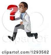 Clipart Of A 3d Young Black Male Diagnostic Doctor Sprinting To The Left With A Question Mark Royalty Free Illustration