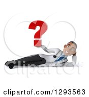 Clipart Of A 3d Young Black Male Diagnostic Doctor Resting On His Side And Holding A Question Mark Royalty Free Illustration