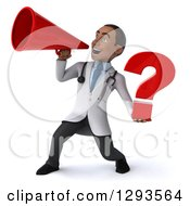 Clipart Of A 3d Young Black Male Diagnostic Doctor Announcing With A Megaphone And Holding A Question Mark Royalty Free Illustration
