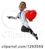 Clipart Of A 3d Young Black Male Doctor Holding A Heart Flying And Pointing Royalty Free Illustration