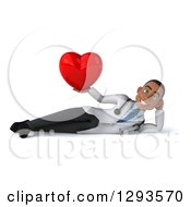 Clipart Of A 3d Young Black Male Doctor Holding A Heart And Resting On His Side Royalty Free Illustration