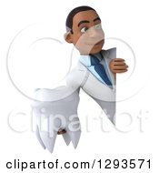 Clipart Of A 3d Young Black Male Doctor Or Dentist Holding A Tooth Around A Sign Royalty Free Illustration