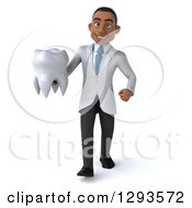 Clipart Of A 3d Young Black Male Doctor Or Dentist Walking And Holding A Tooth Royalty Free Illustration