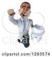 Clipart Of A 3d Young Black Male Doctor Or Dentist Flying And Holding A Tooth Royalty Free Illustration