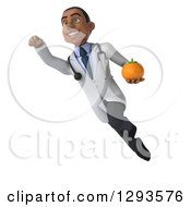 Clipart Of A 3d Young Black Male Dietician Nutritionist Doctor Flying And Holding A Navel Orange Royalty Free Illustration