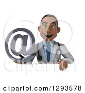 Clipart Of A 3d Young Black Male Doctor Holding An Email Arobase At Symbol Over A Sign Royalty Free Illustration