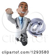 Clipart Of A 3d Young Black Male Doctor Flying With An Email Arobase At Symbol Royalty Free Illustration