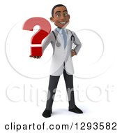 Clipart Of A 3d Young Black Male Diagnostic Doctor Holding A Question Mark Royalty Free Illustration