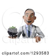 Clipart Of A 3d Young Black Male Dietician Nutritionist Doctor Holding A Blackberry Over A Sign Royalty Free Illustration