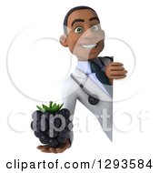 Clipart Of A 3d Young Black Male Dietician Nutritionist Doctor Holding A Blackberry Around A Sign Royalty Free Illustration